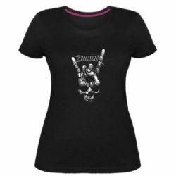 Женская стрейчевая футболка Skull and hand Metallica