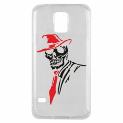 Чехол для Samsung S5 Skull in a hat with a tie