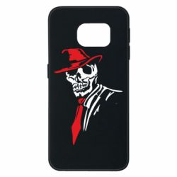 Чехол для Samsung S6 EDGE Skull in a hat with a tie