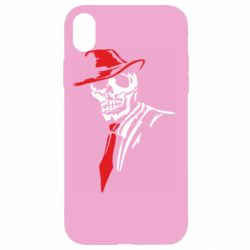 Чехол для iPhone XR Skull in a hat with a tie