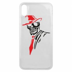 Чехол для iPhone Xs Max Skull in a hat with a tie