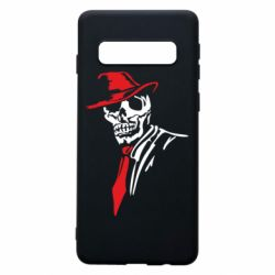 Чехол для Samsung S10 Skull in a hat with a tie