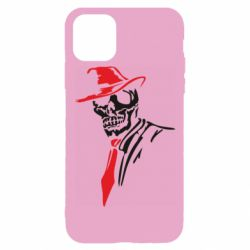 Чехол для iPhone 11 Pro Skull in a hat with a tie