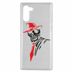 Чехол для Samsung Note 10 Skull in a hat with a tie
