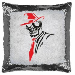Подушка-хамелеон Skull in a hat with a tie