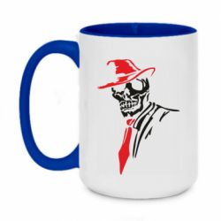 Кружка двухцветная 420ml Skull in a hat with a tie