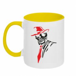 Кружка двухцветная 320ml Skull in a hat with a tie