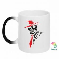 Кружка-хамелеон Skull in a hat with a tie