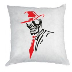 Подушка Skull in a hat with a tie