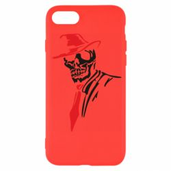 Чехол для iPhone 7 Skull in a hat with a tie