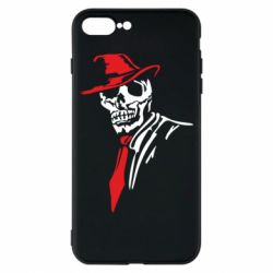 Чехол для iPhone 7 Plus Skull in a hat with a tie