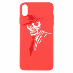 Чехол для iPhone X/Xs Skull in a hat with a tie
