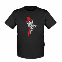 Детская футболка Skull in a hat with a tie