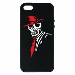 Чехол для iPhone5/5S/SE Skull in a hat with a tie