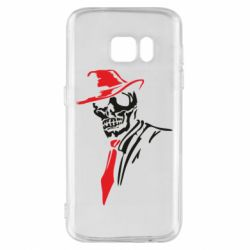 Чехол для Samsung S7 Skull in a hat with a tie