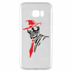 Чехол для Samsung S7 EDGE Skull in a hat with a tie