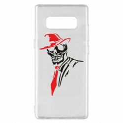 Чехол для Samsung Note 8 Skull in a hat with a tie