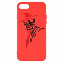 Чехол для iPhone 8 Skull in a hat with a tie
