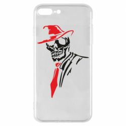 Чехол для iPhone 8 Plus Skull in a hat with a tie