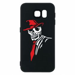 Чехол для Samsung S6 Skull in a hat with a tie