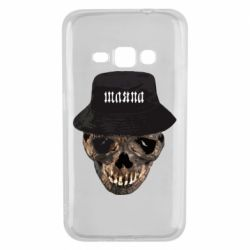 Чехол для Samsung J1 2016 Skull in hat and text