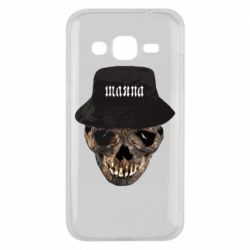 Чехол для Samsung J2 2015 Skull in hat and text