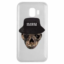 Чехол для Samsung J2 2018 Skull in hat and text