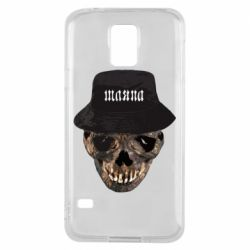 Чехол для Samsung S5 Skull in hat and text