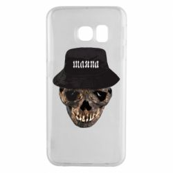 Чехол для Samsung S6 EDGE Skull in hat and text