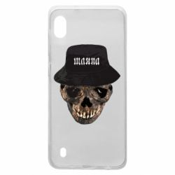 Чехол для Samsung A10 Skull in hat and text