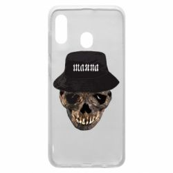 Чехол для Samsung A30 Skull in hat and text