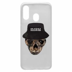 Чехол для Samsung A40 Skull in hat and text