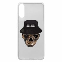 Чехол для Samsung A70 Skull in hat and text