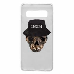 Чехол для Samsung S10 Skull in hat and text