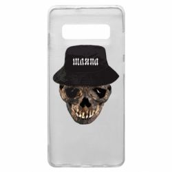 Чехол для Samsung S10+ Skull in hat and text