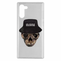 Чехол для Samsung Note 10 Skull in hat and text