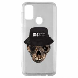 Чехол для Samsung M30s Skull in hat and text