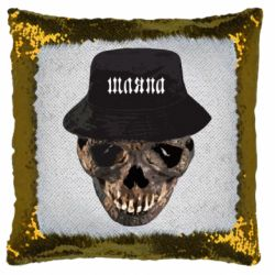 Подушка-хамелеон Skull in hat and text