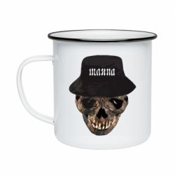 Кружка емальована Skull in hat and text