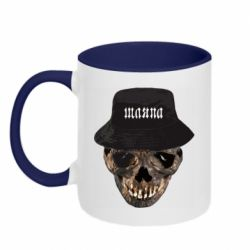 Кружка двоколірна 320ml Skull in hat and text