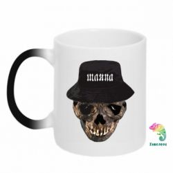 Кружка-хамелеон Skull in hat and text