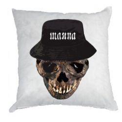 Подушка Skull in hat and text