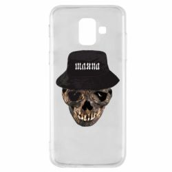 Чехол для Samsung A6 2018 Skull in hat and text