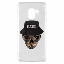 Чехол для Samsung A8 2018 Skull in hat and text