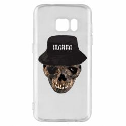 Чехол для Samsung S7 Skull in hat and text