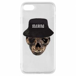 Чехол для iPhone 8 Skull in hat and text
