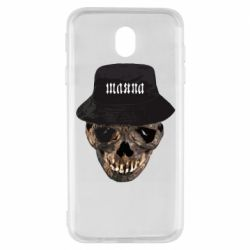 Чехол для Samsung J7 2017 Skull in hat and text