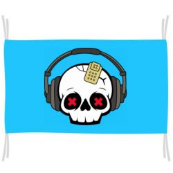 Прапор Skull in headphones 1
