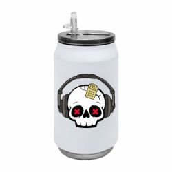 Термобанка 350ml Skull in headphones 1