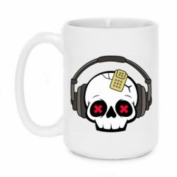 Кружка 420ml Skull in headphones 1